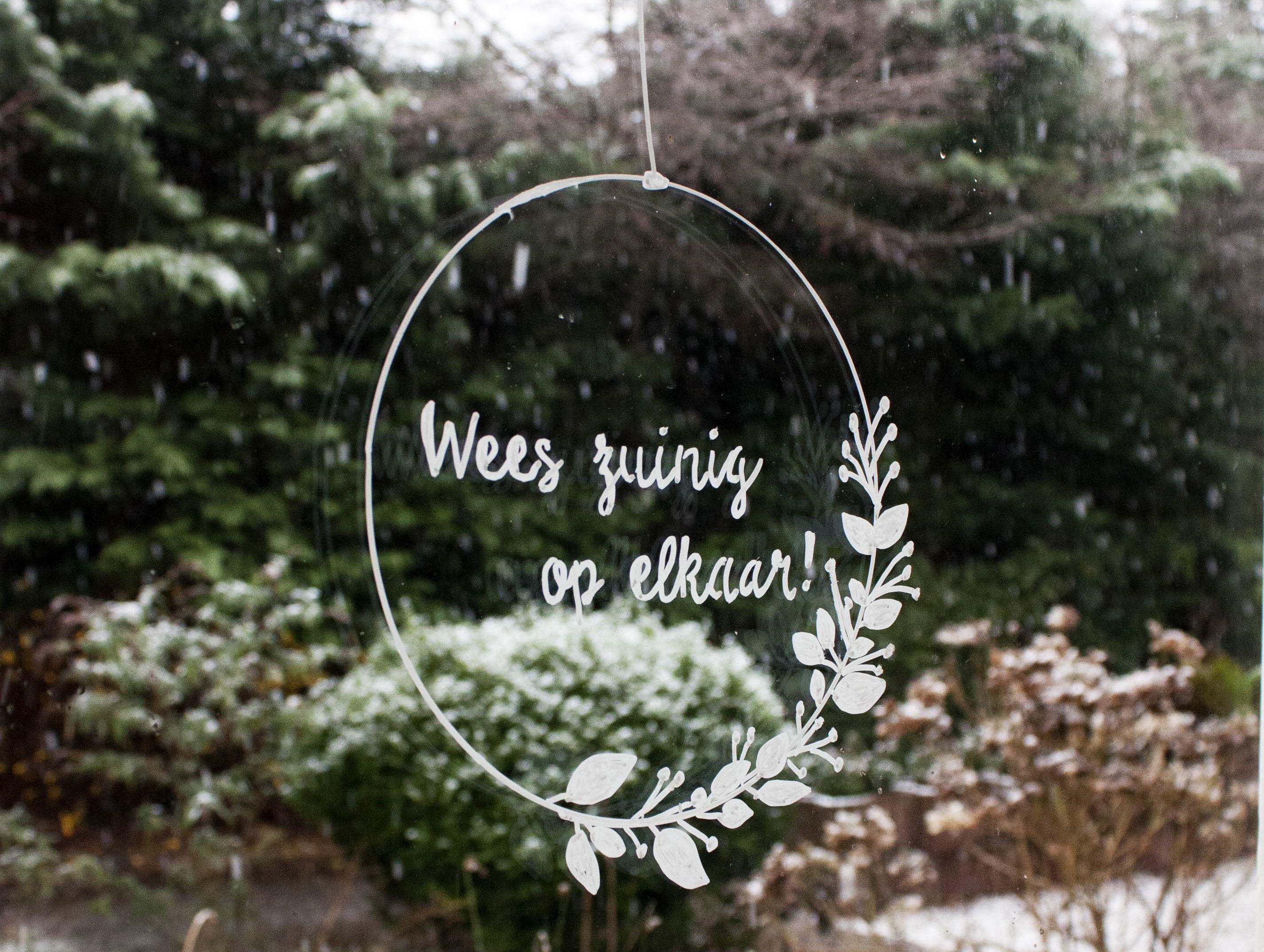 kerstkrans raamtekening