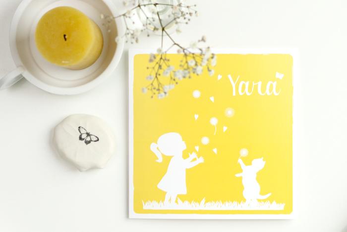 Geboortekaartje met meisjes silhouet
