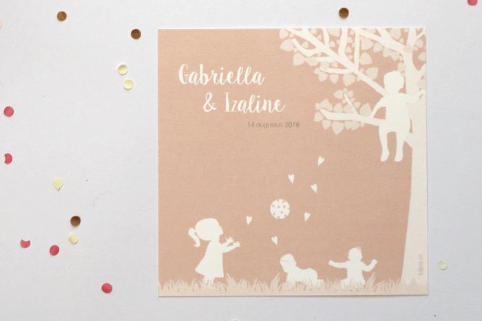 silhouet geboortekaartje voor Gabriella & Izaline